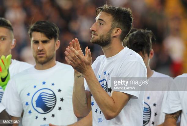 Bryan Cristante of Atalanta BC celebrates the qualification at UEFA Europa League 2017/18 at the end of the Serie A match between Atalanta BC and AC...