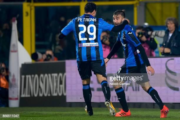 Bryan Cristante of Atalanta BC celebrates with Andrea Petagna after scoring a goal during the Serie A football match between Atalanta BC and Juventus...