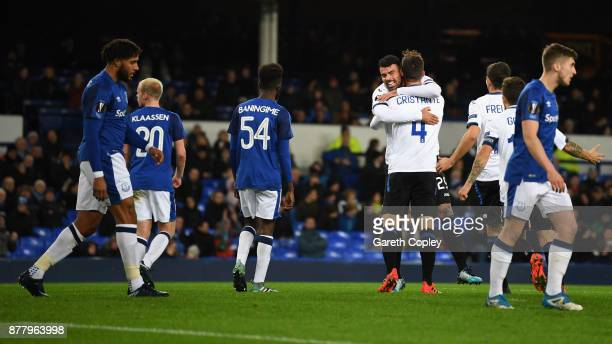 Bryan Cristante of Atalanta celebrates after scoring his sides first goal during the UEFA Europa League group E match between Everton FC and Atalanta...