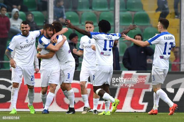 Bryan Cristante of Atalanta celebrates after scoring his team's third goal during the Serie A match between US Citta di Palermo and Atalanta BC at...