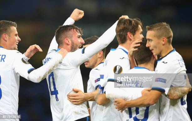 Bryan Cristante of Atalanta celebrates with team mates after scoring his sides second goal during the UEFA Europa League group E match between...