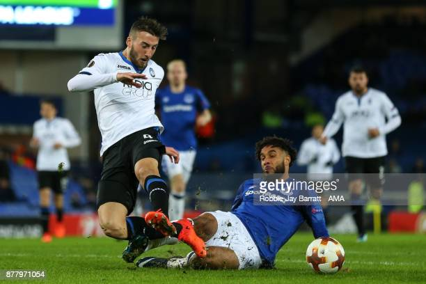 Bryan Cristante of Atalanta is fouled by Ashley Williams of Everton to win a penalty during the UEFA Europa League group E match between Everton FC...