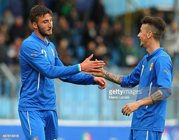 Bryan Cristante of Italy celebrates with his teammate Jacopo Manconi after scoring his goal during the 4 Nations Tournament match between Italy U20...