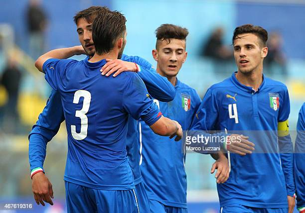 Bryan Cristante of Italy celebrates with his teammate Nicola Murru after scoring his goal during the 4 Nations Tournament match between Italy U20 and...