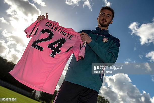 Bryan Cristante pose during his presentation as new player of US Citta' di Palermo at Tenente Carmelo Onorato training center on January 13 2016 in...