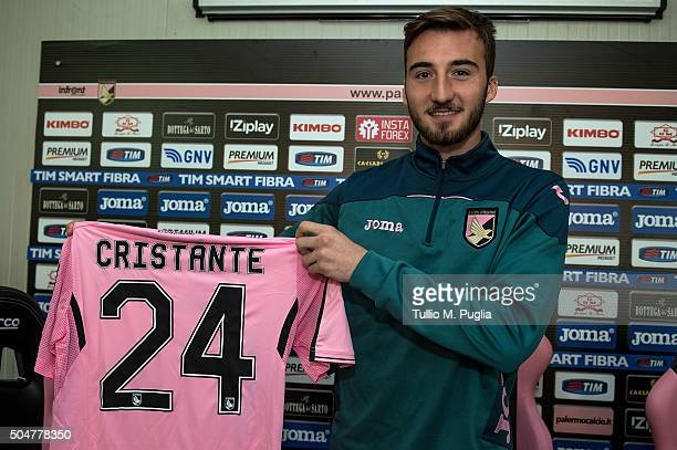 Bryan Cristante poses during his presentation as new player of US Citta' di Palermo at Tenente Carmelo Onorato training center on January 13 2016 in...