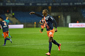 Bryan Dabo of Montpellier Ryad Boudebouz of Montpellier during the French Ligue 1 game between Montpellier Herault SC v Lille OSC at Stade de la...