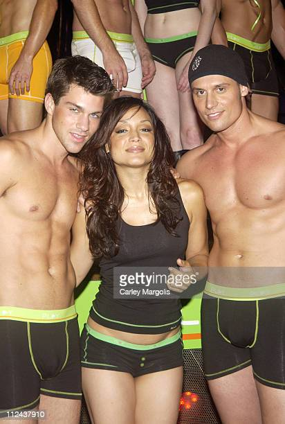 Bryan Dewitt Mayte Garcia and Keith Collins during Intimo Underwear Launches New Underwear Line 'PLAY' at Quo in New York City New York United States