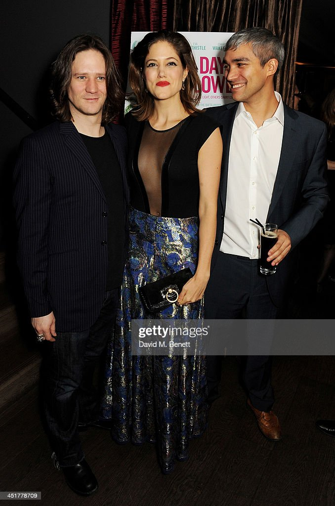 Bryan Dick, Charity Wakefield and Christopher Simpson attend an after party celebrating the UK Premiere of 'Day Of The Flowers' at The Mayfair Hotel on November 24, 2013 in London, England.