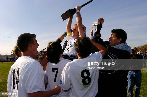Bryan Eisenbraun of Fort Lewis and his teammates celebrate their victory over Franklin Pierce following the Men's Division II Soccer Championship...