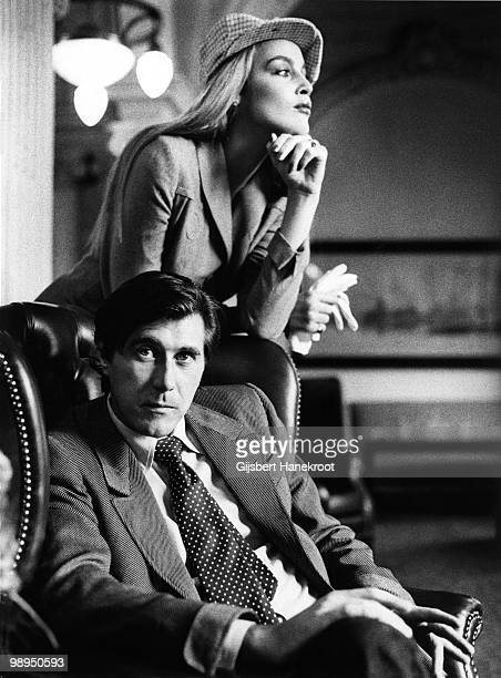 Bryan Ferry and Jerry Hall posed together in the Amstel Hotel Amsterdam Holland in 1976