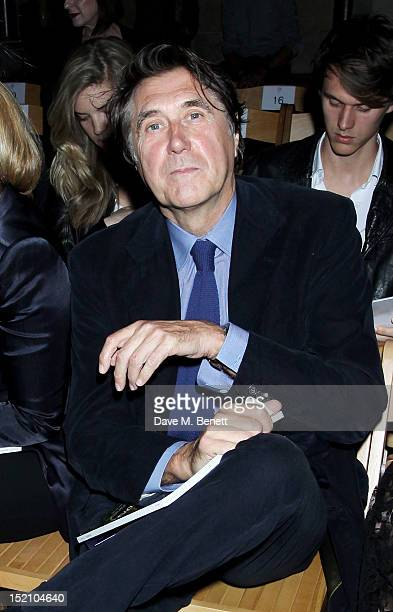 Bryan Ferry attends the front row for the Philip Treacy show on day 3 of London Fashion Week Spring/Summer 2013 at The Royal Courts Of Justice on...