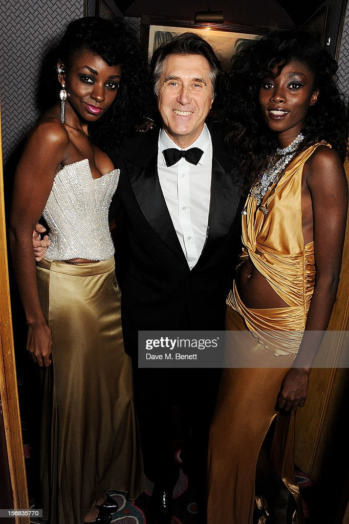 <a gi-track='captionPersonalityLinkClicked' href=/galleries/search?phrase=Bryan+Ferry&family=editorial&specificpeople=206306 ng-click='$event.stopPropagation()'>Bryan Ferry</a> (C) attends the launch of <a gi-track='captionPersonalityLinkClicked' href=/galleries/search?phrase=Bryan+Ferry&family=editorial&specificpeople=206306 ng-click='$event.stopPropagation()'>Bryan Ferry</a>'s new album 'The Jazz Age' at Annabels on November 22, 2012 in London, England.