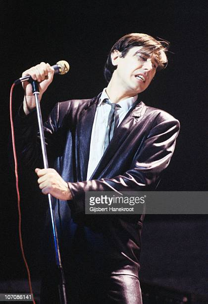 Bryan Ferry from Roxy Music performs on stage wearing a leather suit on his 'In Your Mind' solo tour in March 1977 in Amsterdam Netherlands