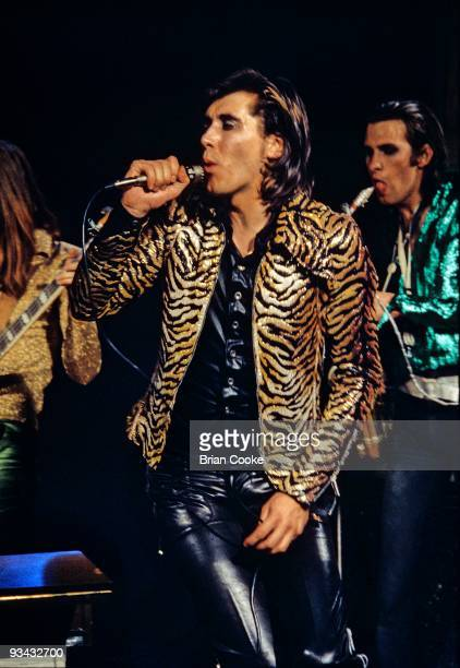 Bryan Ferry of Roxy Music performs in the Royal College Of Art video studio wearing a tiger print jacket on July 5th 1972 in London