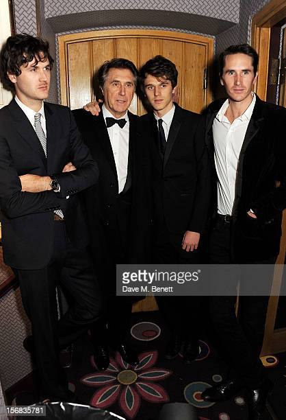 LONDON ENGLAND NOVEMBER Bryan Ferry poses with sons Isaac Tara and Otis at the launch of his new album 'The Jazz Age' at Annabels on November 22 2012...