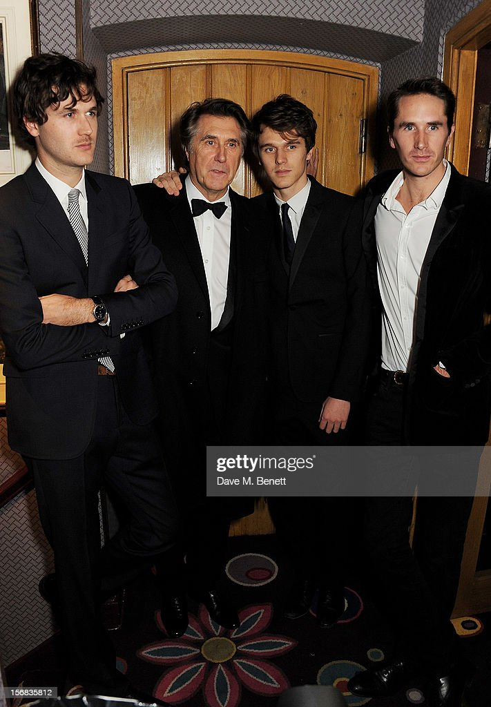 Bryan Ferry (2L) poses with sons Isaac, Tara and Otis at the launch of his new album 'The Jazz Age' at Annabels on November 22, 2012 in London, England.