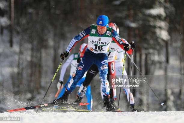 Bryan Fletcher of the United States competes in the Men's Nordic Combined 10KM Cross Country during the FIS Nordic World Ski Championships on...