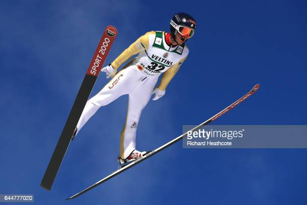 Bryan Fletcher of the United States competes in the Men's Nordic Combined HS100 during the FIS Nordic World Ski Championships on February 24 2017 in...
