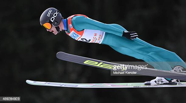 Bryan Fletcher of USA competes during the FIS Nordic Combined Ski Jumping competition of the FIS Nordic Skiing World Cup in Schonach Germany on...