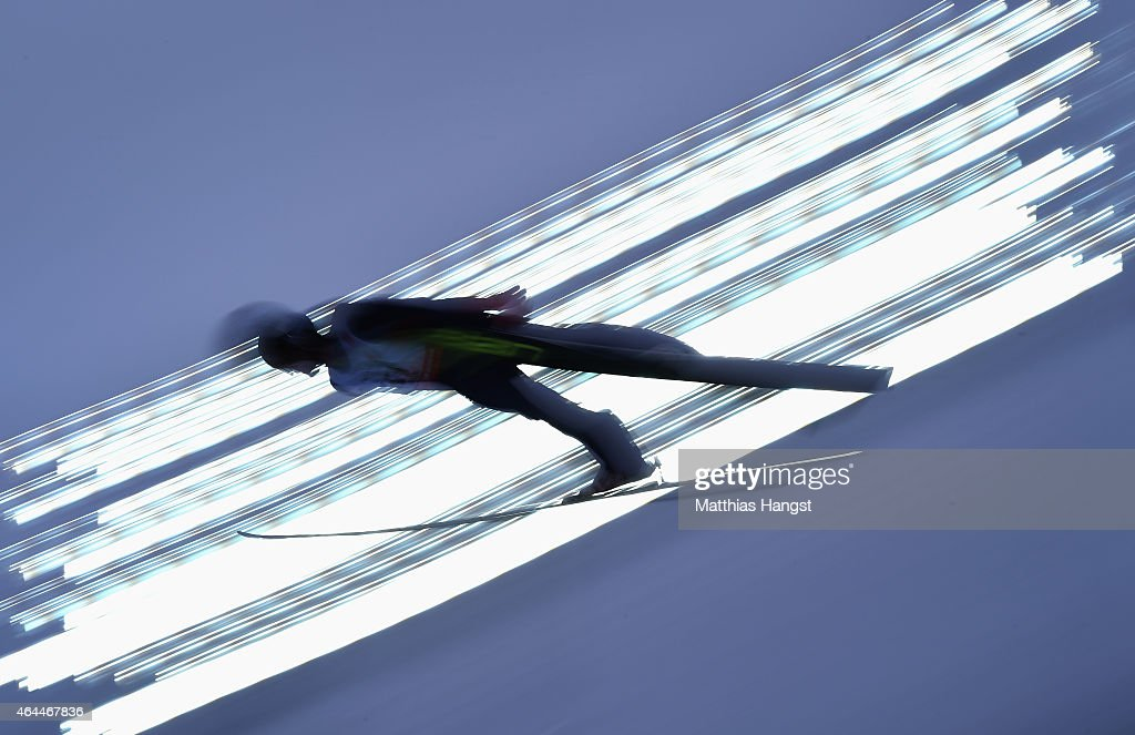 Bryan Fletcher of USA competes during the Men's Nordic Combined HS134 Large Hill Ski Jumping during the FIS Nordic World Ski Championships at the...