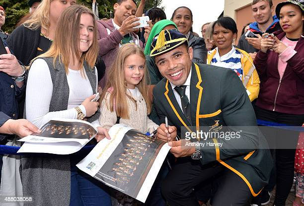 Bryan Habana attends the South Africa 2015 World Cup team welcoming ceremony at the Winter Gardens on September 13 2015 in Eastbourne England