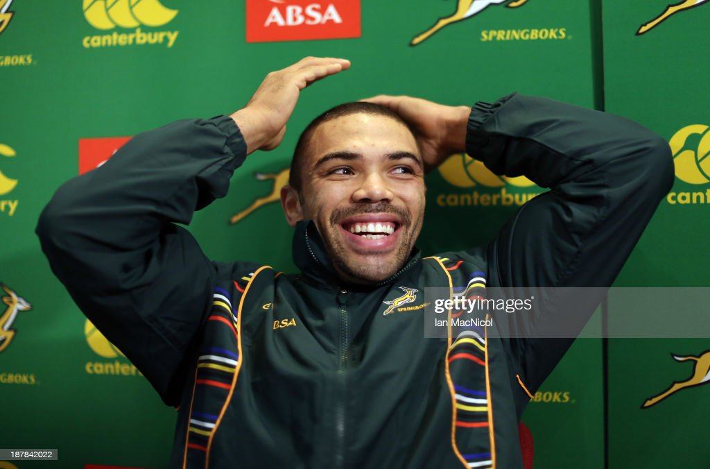 <a gi-track='captionPersonalityLinkClicked' href=/galleries/search?phrase=Bryan+Habana&family=editorial&specificpeople=221391 ng-click='$event.stopPropagation()'>Bryan Habana</a> of South Africa attends a press conference prior to the forthcoming Scotland and South Africa Autunm international at the Radisson Blue Hotel on The Royal Mile on November 13, 2013 in Edinburgh, Scotland.