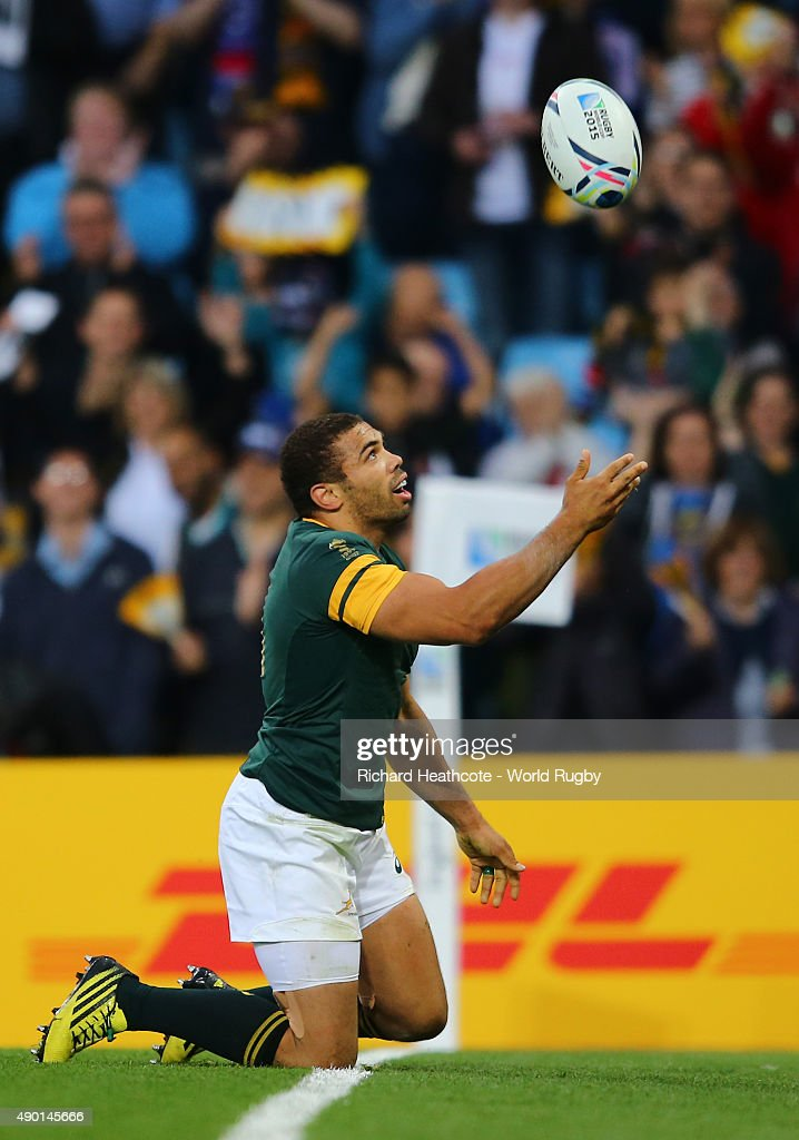 Bryan Habana of South Africa celebrates after he scores the sixth try for his team during the 2015 Rugby World Cup Pool B match between South Africa and Samoa at Villa Park on September 26, 2015 in Birmingham, United Kingdom.