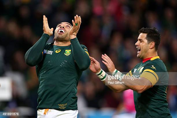Bryan Habana of South Africa celebrates scoring his second and South Africa's sixth try with Morne Steyn of South Africa during the 2015 Rugby World...