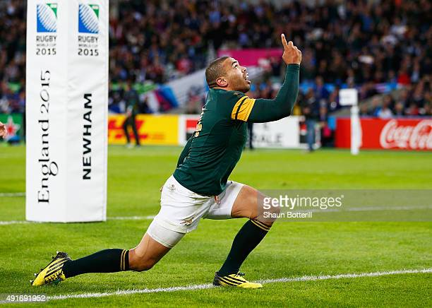 Bryan Habana of South Africa celebrates scoring his second and South Africa's sixth try during the 2015 Rugby World Cup Pool B match between South...