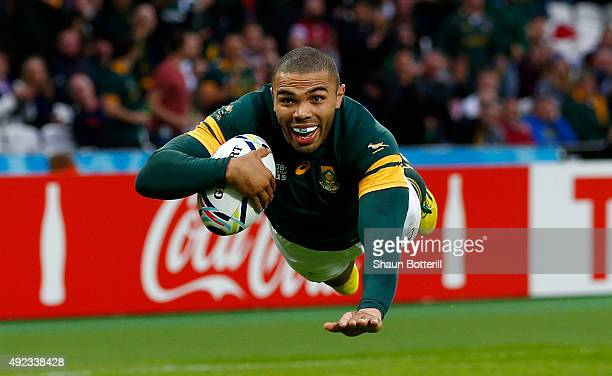 Bryan Habana of South Africa goes over for their third try during the 2015 Rugby World Cup Pool B match between South Africa and USA at Olympic...