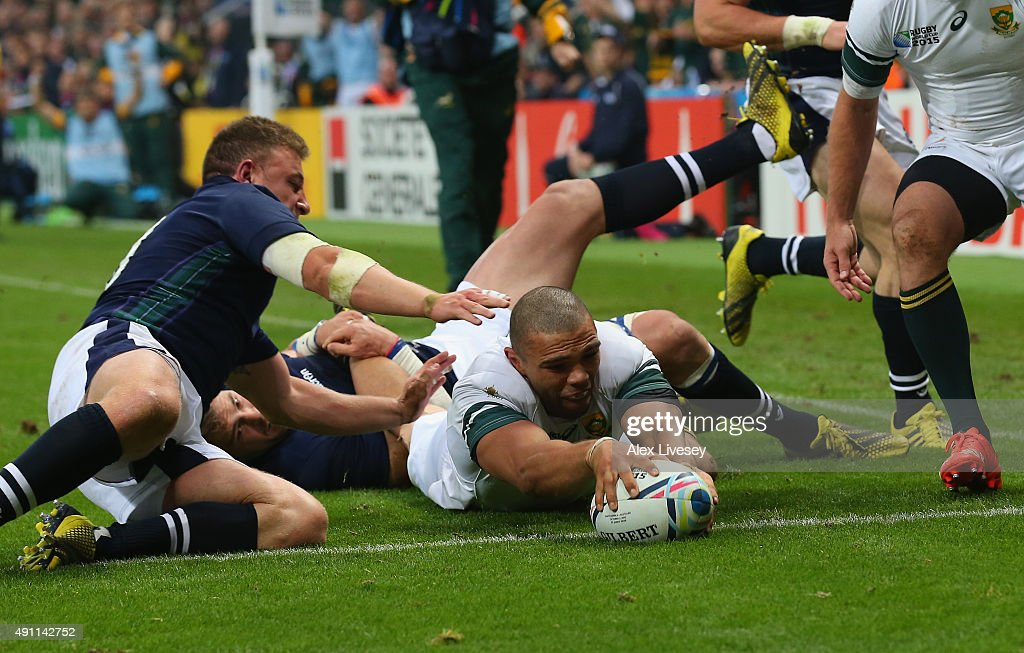 <a gi-track='captionPersonalityLinkClicked' href=/galleries/search?phrase=Bryan+Habana&family=editorial&specificpeople=221391 ng-click='$event.stopPropagation()'>Bryan Habana</a> of South Africa goes over to score their third try during the 2015 Rugby World Cup Pool B match between South Africa and Scotland at St James' Park on October 3, 2015 in Newcastle upon Tyne, United Kingdom.