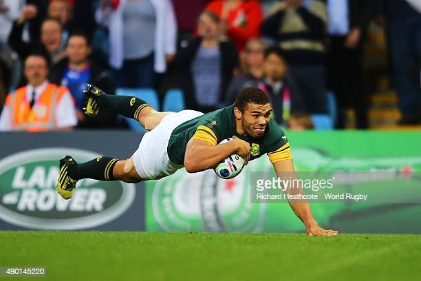 Bryan Habana of South Africa scores the sixth try for his team during the 2015 Rugby World Cup Pool B match between South Africa and Samoa at Villa...