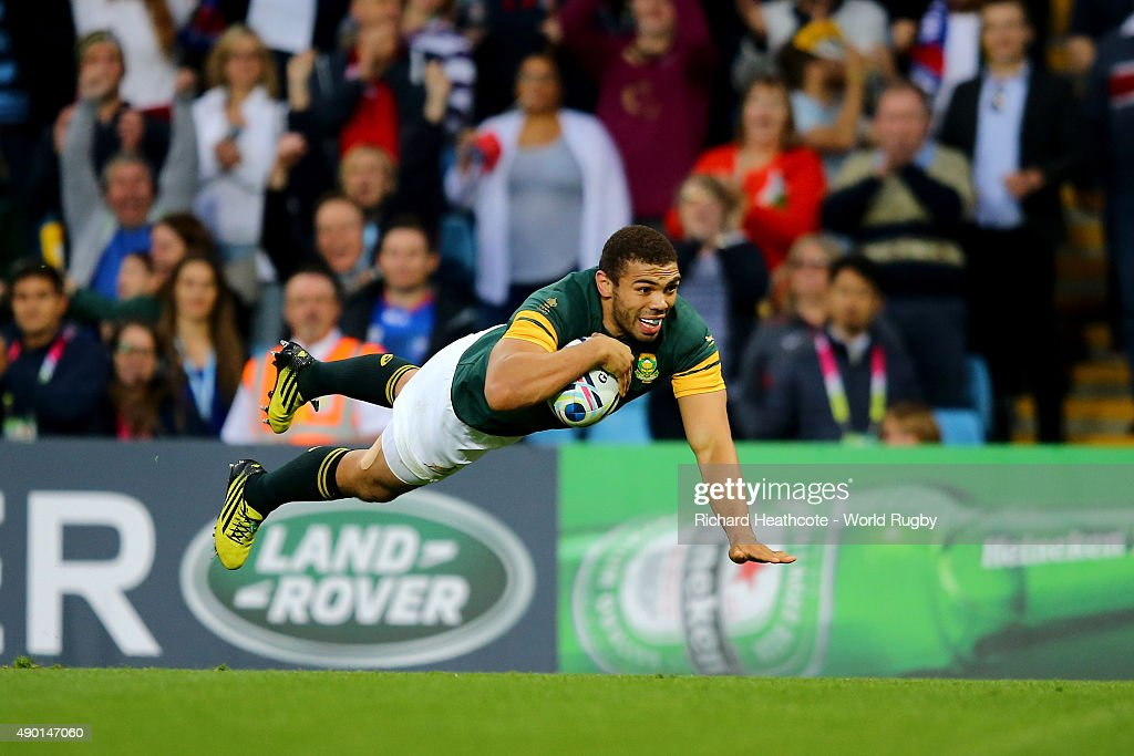 Bryan Habana of South Africa scores the sixth try for his team during the 2015 Rugby World Cup Pool B match between South Africa and Samoa at Villa Park on September 26, 2015 in Birmingham, United Kingdom.