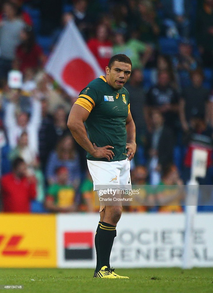 <a gi-track='captionPersonalityLinkClicked' href=/galleries/search?phrase=Bryan+Habana&family=editorial&specificpeople=221391 ng-click='$event.stopPropagation()'>Bryan Habana</a> of South Africa stands dejected following the 2015 Rugby World Cup Pool B match between South Africa and Japan at the Brighton Community Stadium on September 19, 2015 in Brighton, United Kingdom.