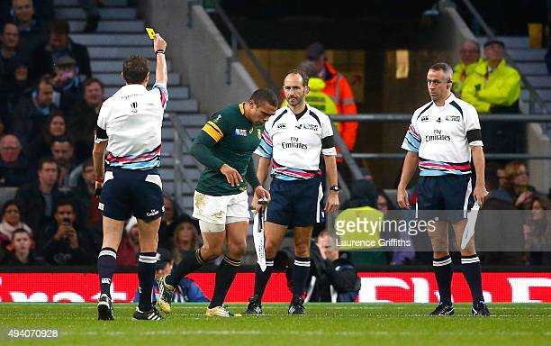 Bryan Habana of South Africa walks off towards the sin bin after he received a yellow card from referee Jerome Garces during the 2015 Rugby World Cup...