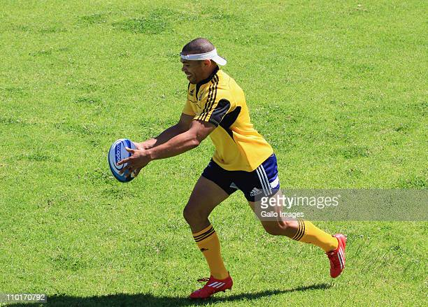 Bryan Habana of the DHL Stormers takes part in a training session at the High Performance Centre in Bellville on March 16 2011 in Cape Town South...