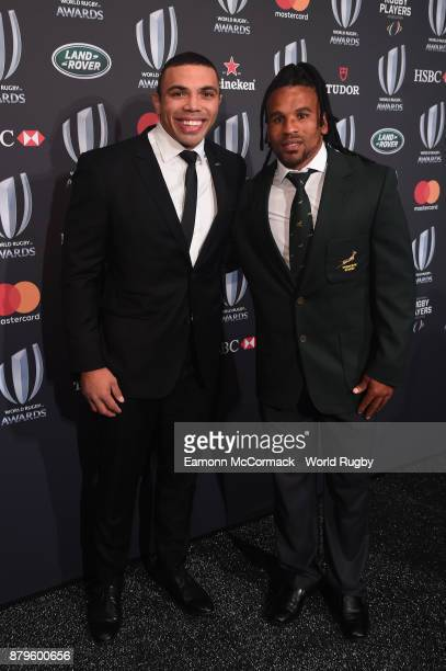 Bryan Habana of the South African Springboks and Rosko Specman of South Africa Sevens attend the World Rugby Awards 2017 in the Salle des Etoiles at...