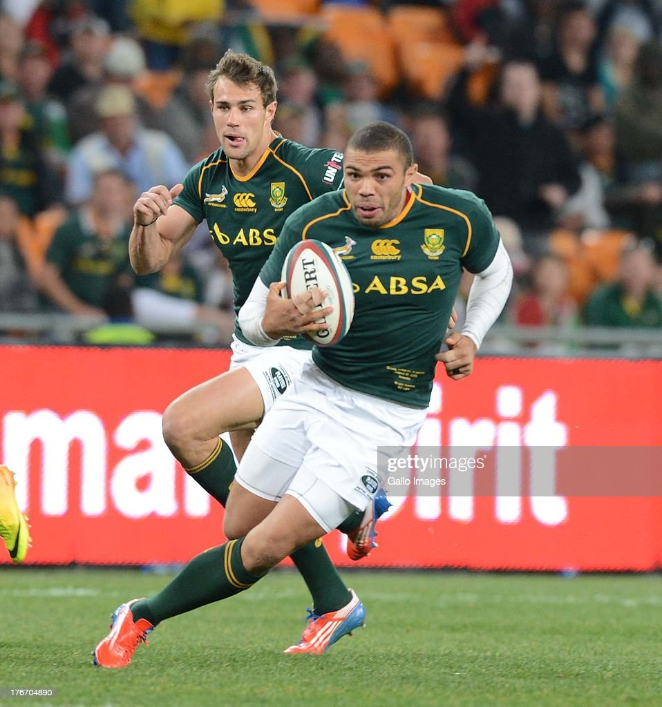 Bryan Habana of the Springboks during the Castle Rugby Championship match between South Africa and Argentina at FNB Stadium on August 17, 2013 in Soweto, South Africa.