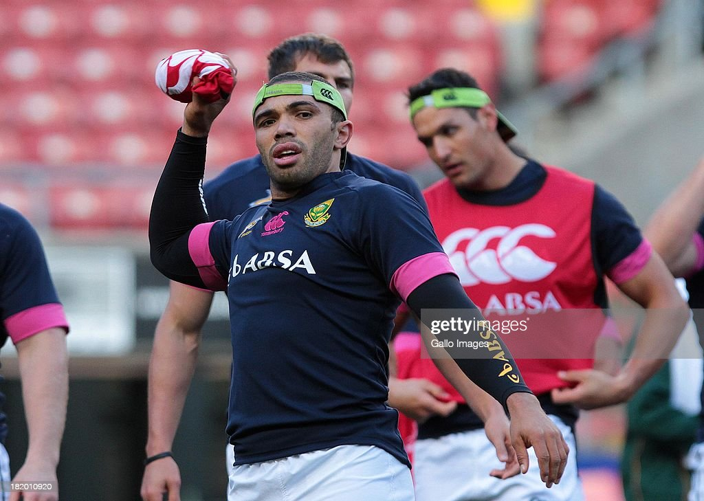 <a gi-track='captionPersonalityLinkClicked' href=/galleries/search?phrase=Bryan+Habana&family=editorial&specificpeople=221391 ng-click='$event.stopPropagation()'>Bryan Habana</a> of the Springboks in action during the South African National rugby team captain's run at DHL Newlands on September 27, 2013 in Cape Town, South Africa.