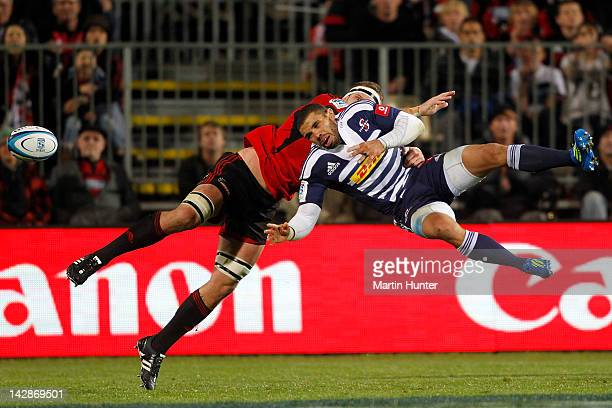 Bryan Habana of the Stormers competes for the ball with Kieran Read of the Crusaders during the round eight Super Rugby match between the Crusaders...