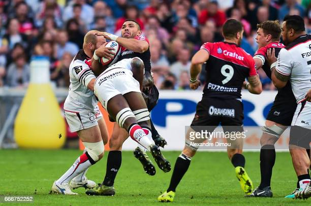 Bryan Habana of Toulon and Yacouba Camara and Leonardo Ghiraldini of Toulouse during the Top 14 match between RC Toulon and Stade Toulousain Toulouse...