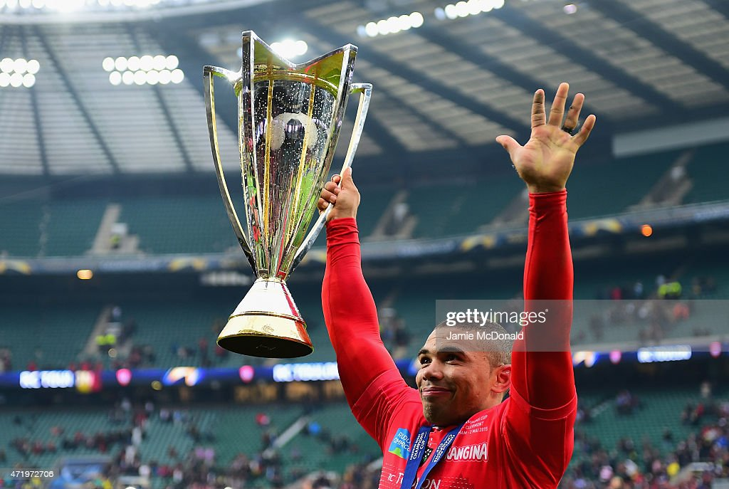 <a gi-track='captionPersonalityLinkClicked' href=/galleries/search?phrase=Bryan+Habana&family=editorial&specificpeople=221391 ng-click='$event.stopPropagation()'>Bryan Habana</a> of Toulon celebrates with the trophy following his team's victory during the European Rugby Champions Cup Final match between ASM Clermont Auvergne and RC Toulon at Twickenham Stadium on May 2, 2015 in London, England.