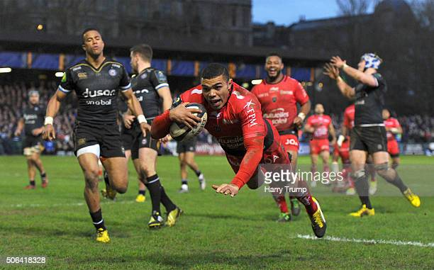 Bryan Habana of Toulon goes over for his sides try during the European Rugby Champions Cup match between Bath Rugby and RC Toulon at the Recreation...