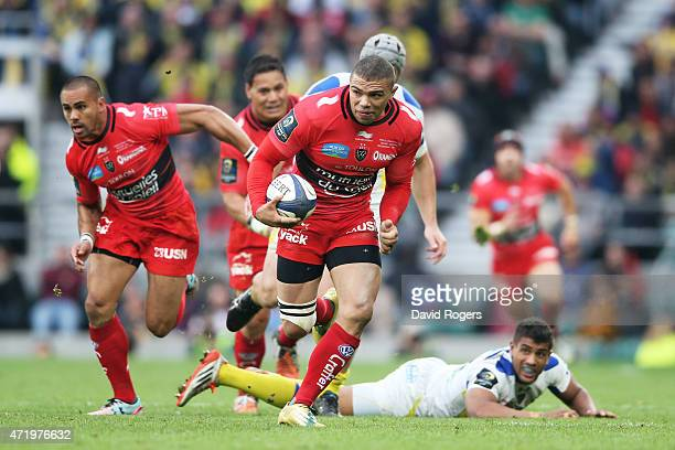 Bryan Habana of Toulon makes a break during the European Rugby Champions Cup Final match between ASM Clermont Auvergne and RC Toulon at Twickenham...