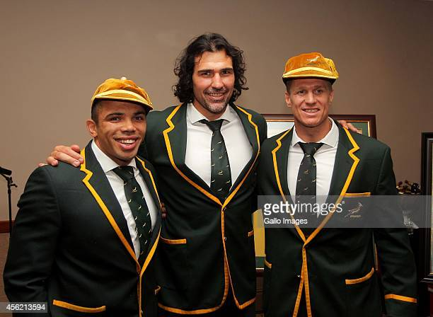 Bryan Habana Victor Matfield and Jean de Villiers pose during the South African National rugby team celebration party at The Cullinan Hotel on...
