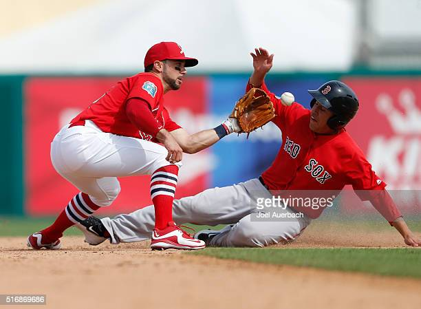 Bryan Hudson of the Boston Red Sox steals second base ahead of the tag by Greg Garcia of the St Louis Cardinals during the eighth inning a spring...
