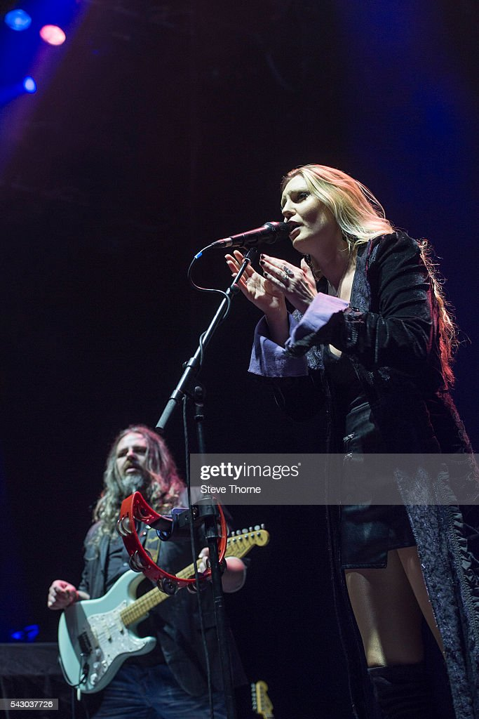 Bryan Josh and Olivia Sparnenn of Mostly Autumn perform at Genting Arena on June 25, 2016 in Birmingham, England.
