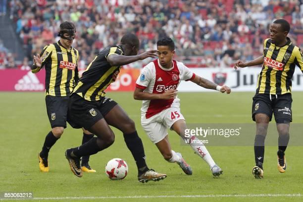 Bryan Linssen of Vitesse Lassana Faye of Vitesse Justin Kluivert of Ajax Thulani Serero of Vitesse during the Dutch Eredivisie match between Ajax...