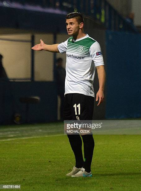 Bryan Linssenof FC Groningen reacts during the UEFA Europa Leage football match FC Slovan Liberec vs FC Groningen in Liberec on October 22 2015 AFP...